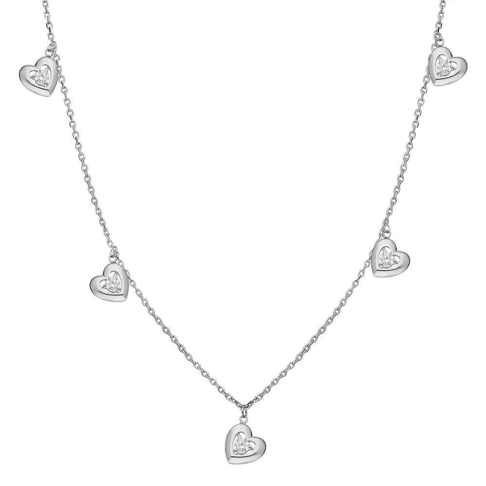 Zirkon Tektaş-Kalp Kombinli 925 Ayar Gümüş Şans Kolyesi