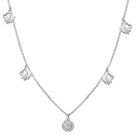 Zirkon Tektaş-Kalp Kombinli 925 Ayar Gümüş Şans Kolyesi - Thumbnail