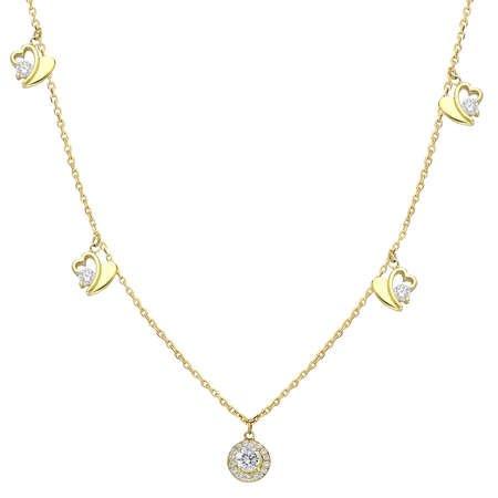 Zirkon Tektaş-Kalp Kombinli Gold Renk 925 Ayar Gümüş Şans Kolyesi - Thumbnail