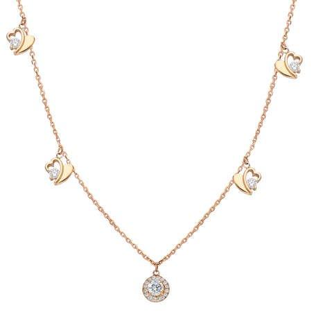 Zirkon Tektaş-Kalp Kombinli Rose Renk 925 Ayar Gümüş Şans Kolyesi - Thumbnail