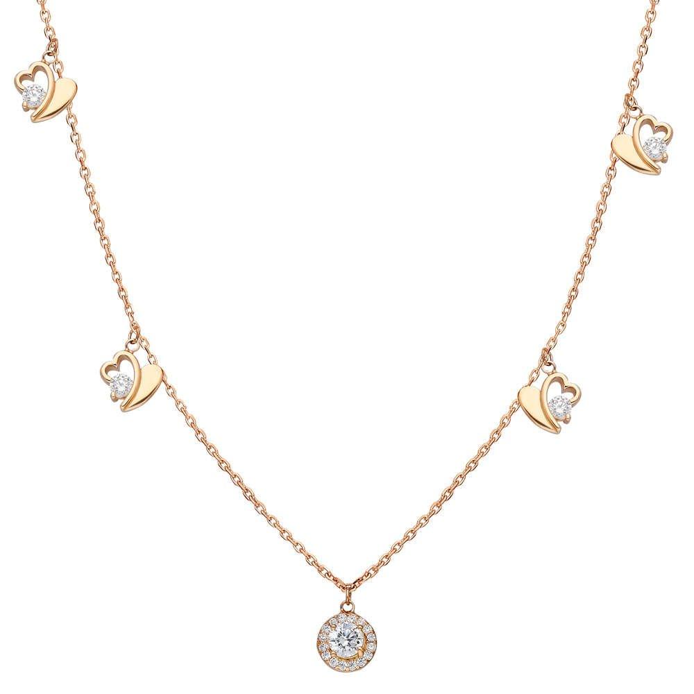 Zirkon Tektaş-Kalp Kombinli Rose Renk 925 Ayar Gümüş Şans Kolyesi