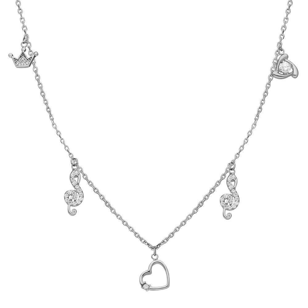 Zirkon Tektaş-Kalp-Sol-Taç Kombinli 925 Ayar Gümüş Şans Kolyesi