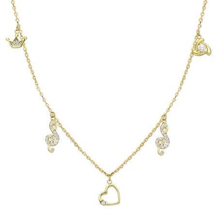 Zirkon Tektaş-Kalp-Sol-Taç Kombinli Gold Renk 925 Ayar Gümüş Şans Kolyesi - Thumbnail