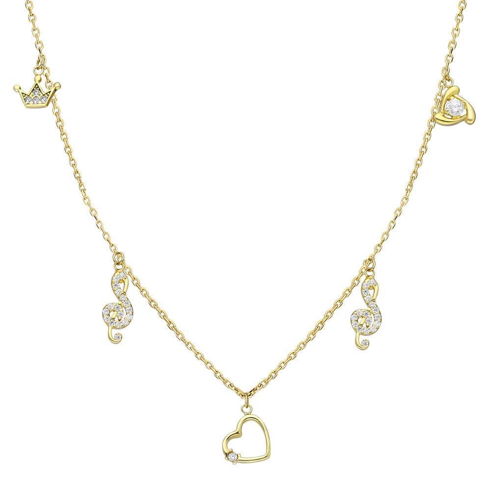 Zirkon Tektaş-Kalp-Sol-Taç Kombinli Gold Renk 925 Ayar Gümüş Şans Kolyesi