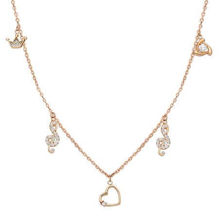 Zirkon Tektaş-Kalp-Sol-Taç Kombinli Rose Renk 925 Ayar Gümüş Şans Kolyesi - Thumbnail