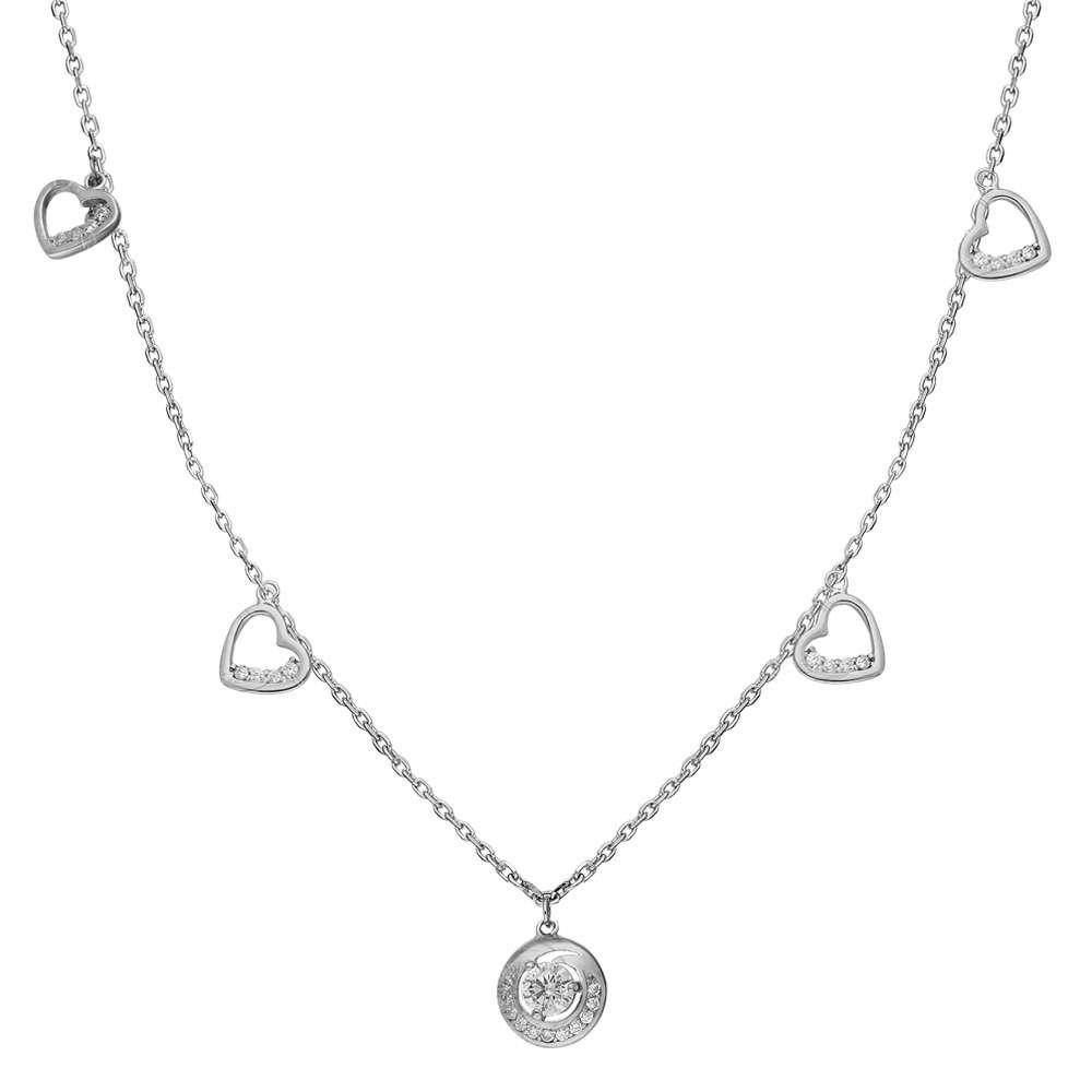 Zirkon Tektaş-Kalp Tasarım 925 Ayar Gümüş Şans Kolyesi