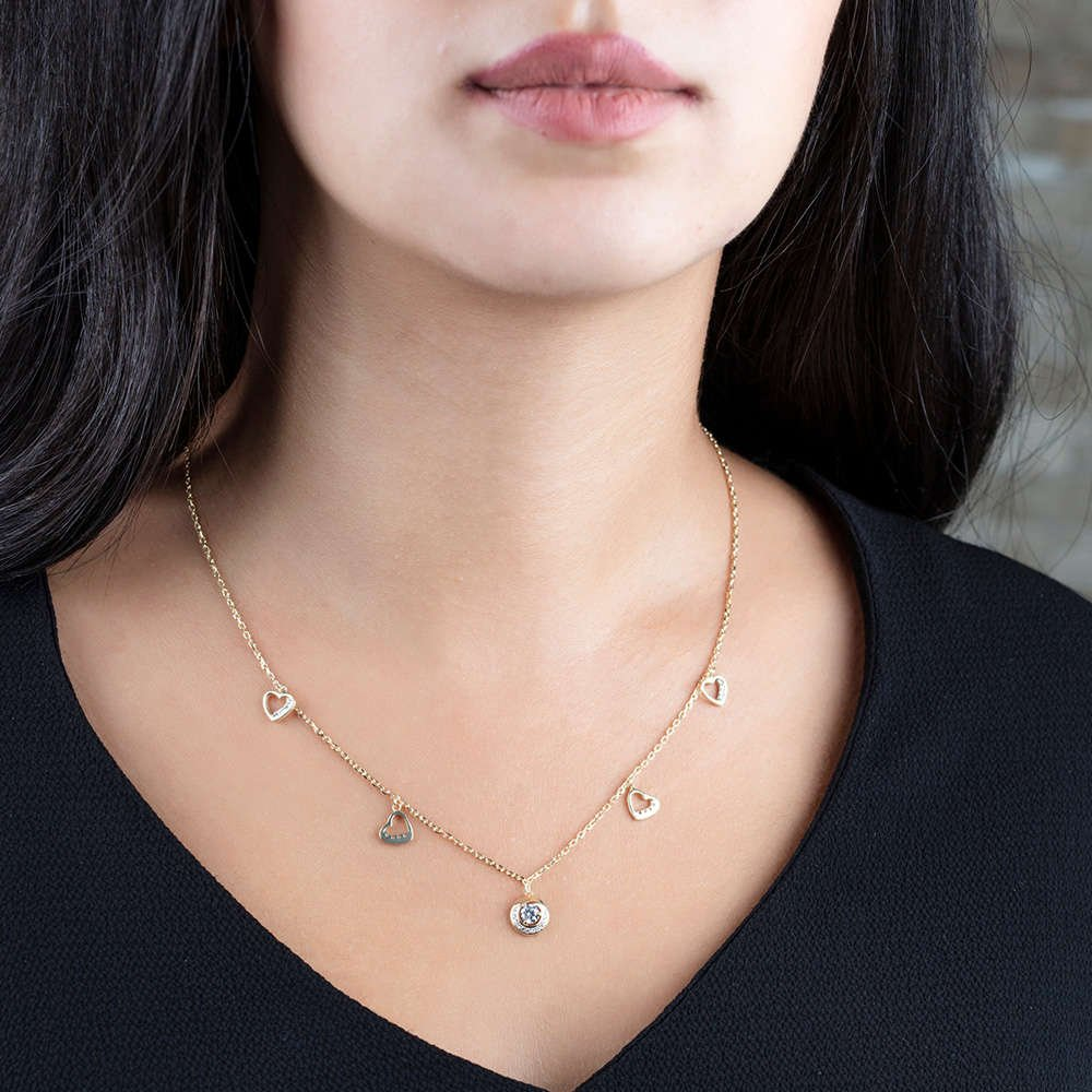 Zirkon Tektaş-Kalp Tasarım Gold Renk 925 Ayar Gümüş Şans Kolyesi