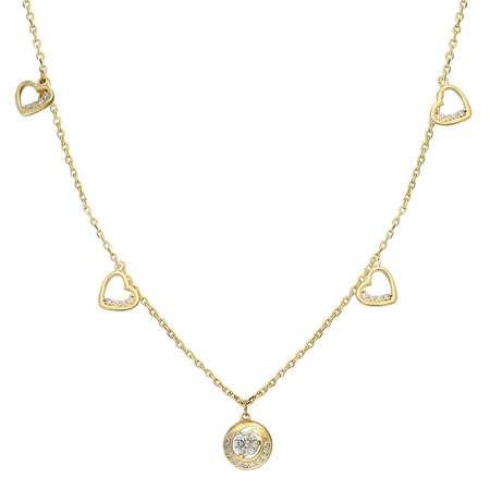 Zirkon Tektaş-Kalp Tasarım Gold Renk 925 Ayar Gümüş Şans Kolyesi - Thumbnail