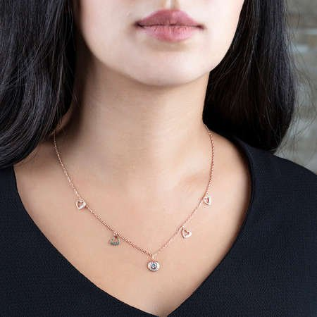 Zirkon Tektaş-Kalp Tasarım Rose Renk 925 Ayar Gümüş Şans Kolyesi - Thumbnail