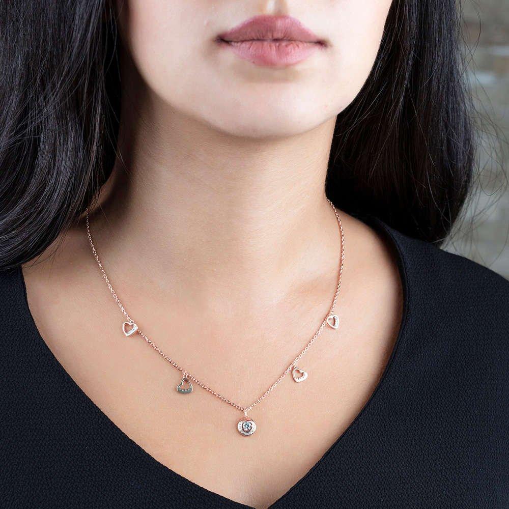 Zirkon Tektaş-Kalp Tasarım Rose Renk 925 Ayar Gümüş Şans Kolyesi