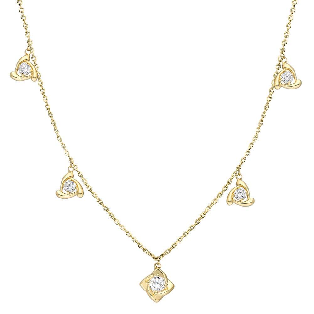 Zirkon Tektaş-Rüzgar Gülü Kombinli Gold Renk 925 Ayar Gümüş Şans Kolyesi