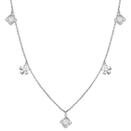 Zirkon Tektaş-Yasemen Çiçeği Kombinli 925 Ayar Gümüş Şans Kolyesi - Thumbnail