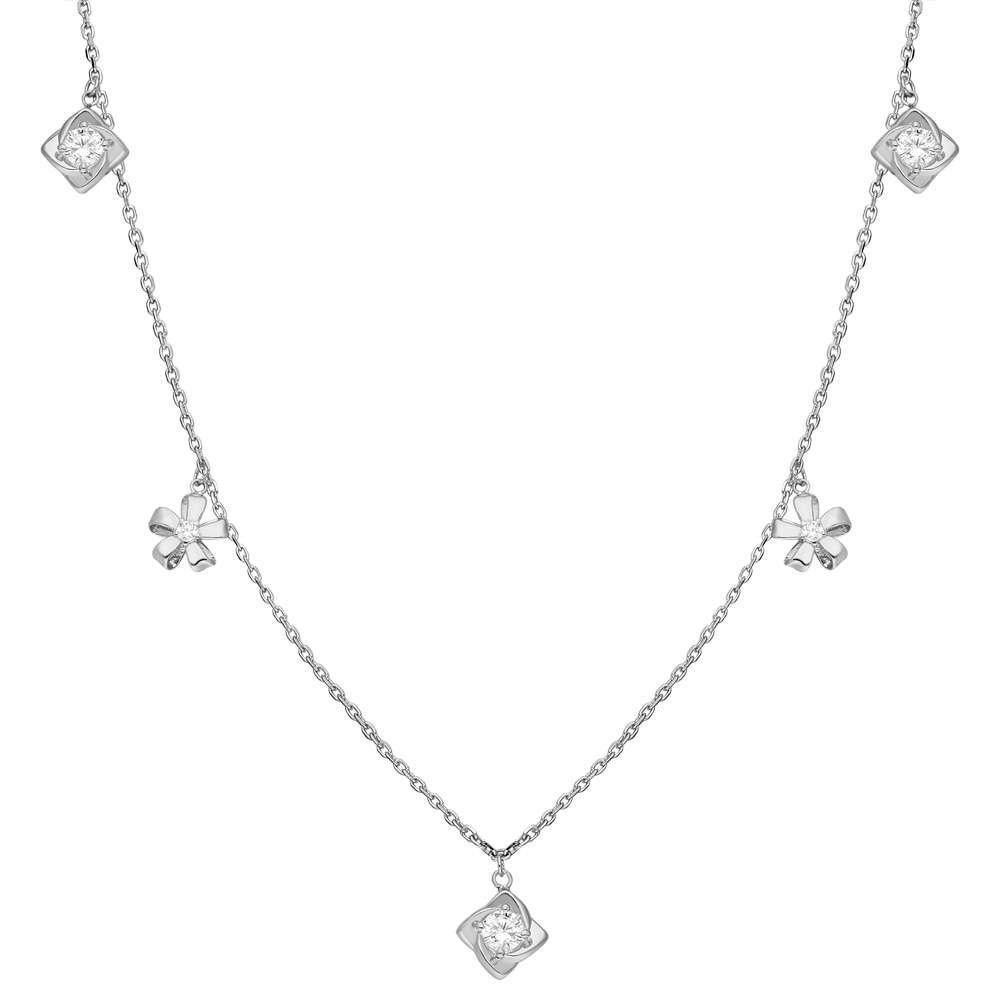 Zirkon Tektaş-Yasemen Çiçeği Kombinli 925 Ayar Gümüş Şans Kolyesi
