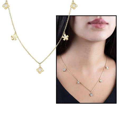Zirkon Tektaş-Yasemen Çiçeği Kombinli Gold Renk 925 Ayar Gümüş Şans Kolyesi - Thumbnail