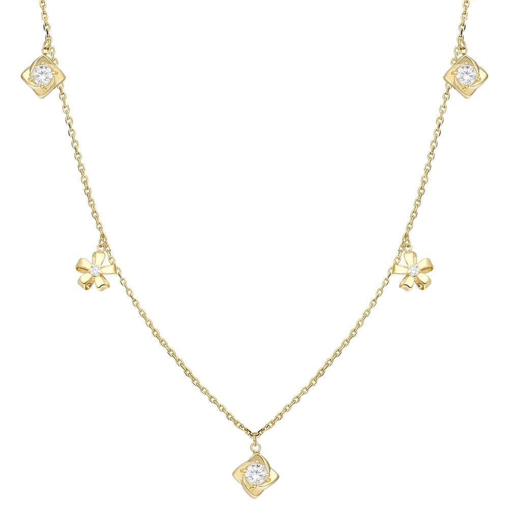 Zirkon Tektaş-Yasemen Çiçeği Kombinli Gold Renk 925 Ayar Gümüş Şans Kolyesi