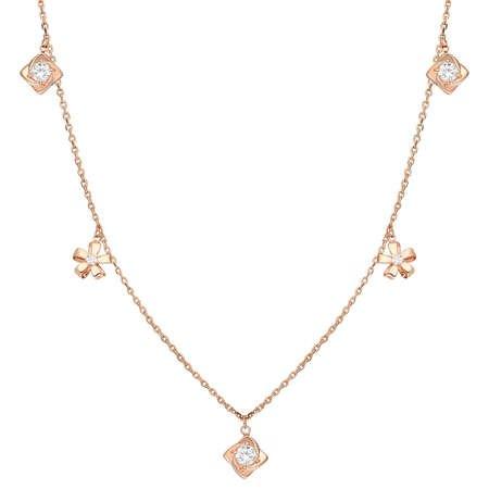 Zirkon Tektaş-Yasemen Çiçeği Kombinli Rose Renk 925 Ayar Gümüş Şans Kolyesi - Thumbnail