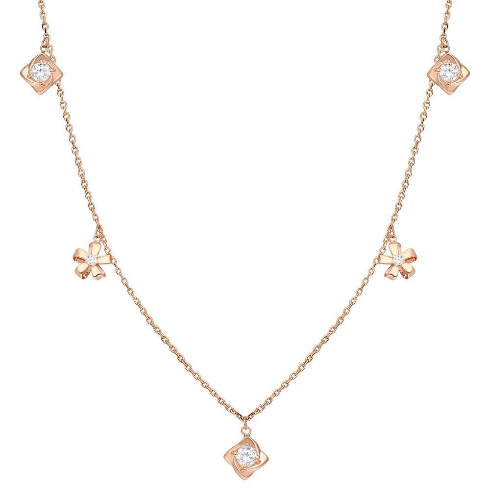 Zirkon Tektaş-Yasemen Çiçeği Kombinli Rose Renk 925 Ayar Gümüş Şans Kolyesi