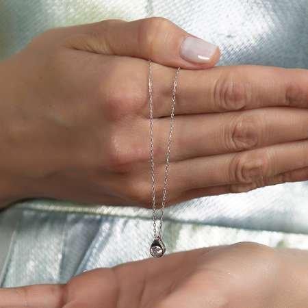 Zirkon Tektaşlı Damla Tasarım 925 Ayar Gümüş Kadın Kolye - Thumbnail
