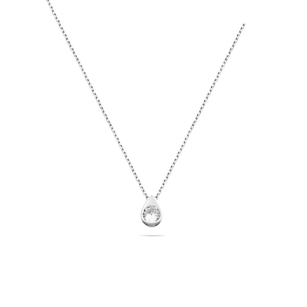 Zirkon Tektaşlı Damla Tasarım 925 Ayar Gümüş Kadın Kolye