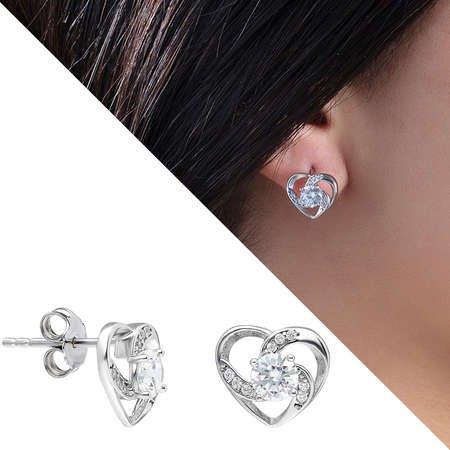 Zirkon Tektaşlı Kalp Tasarım 925 Ayar Gümüş 3'lü Takı Seti - Thumbnail