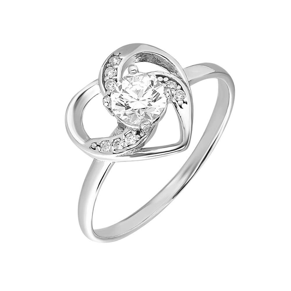 Zirkon Tektaşlı Kalp Tasarım 925 Ayar Gümüş Bayan Yüzük