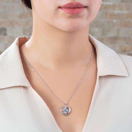 Zirkon Tektaşlı Kalp Tasarım 925 Ayar Gümüş Kolye - Thumbnail