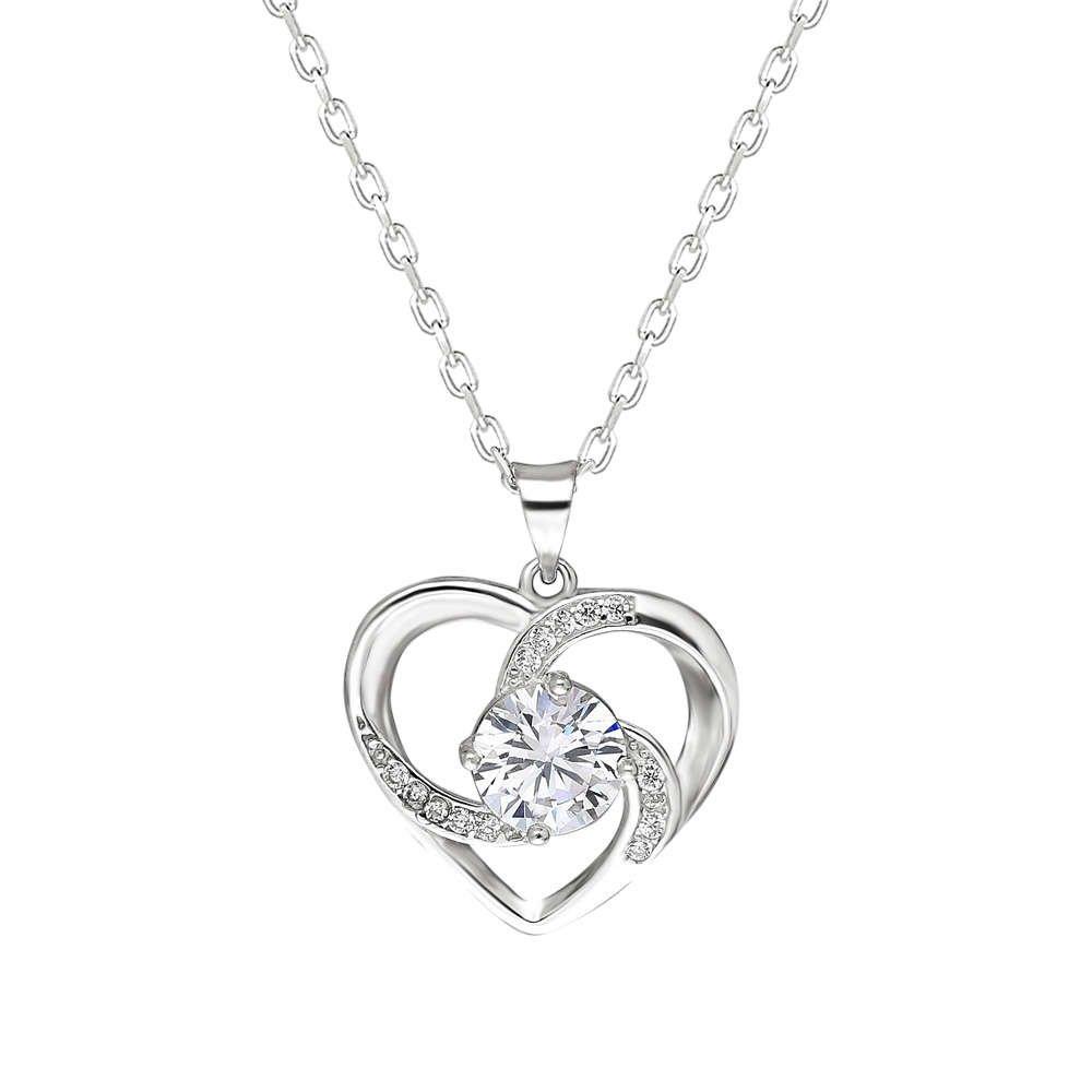 Zirkon Tektaşlı Kalp Tasarım 925 Ayar Gümüş Kolye