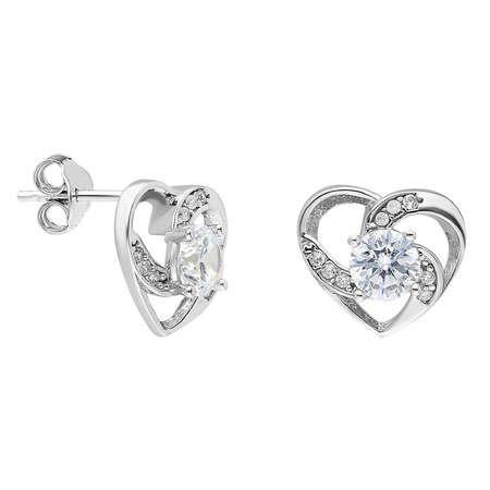 Zirkon Tektaşlı Kalp Tasarım 925 Ayar Gümüş Küpe - Thumbnail