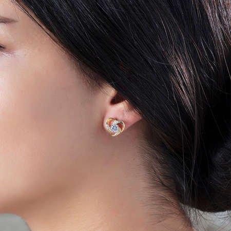 Zirkon Tektaşlı Kalp Tasarım Gold Renk 925 Ayar Gümüş 3'lü Takı Seti - Thumbnail