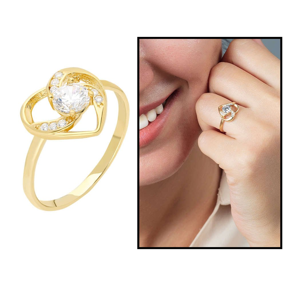 Zirkon Tektaşlı Kalp Tasarım Gold Renk 925 Ayar Gümüş Bayan Yüzük