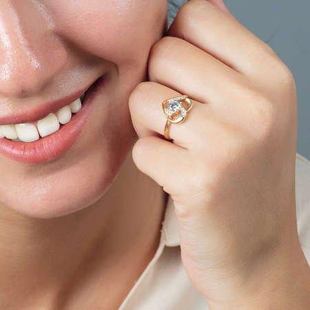 Zirkon Tektaşlı Kalp Tasarım Gold Renk 925 Ayar Gümüş Bayan Yüzük - Thumbnail