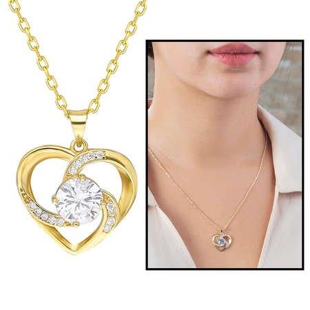 Zirkon Tektaşlı Kalp Tasarım Gold Renk 925 Ayar Gümüş Kolye - Thumbnail