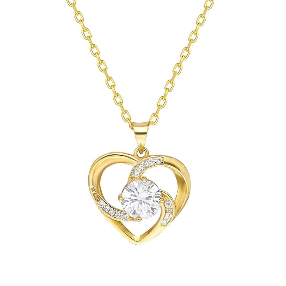 Zirkon Tektaşlı Kalp Tasarım Gold Renk 925 Ayar Gümüş Kolye