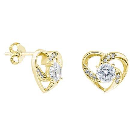 Zirkon Tektaşlı Kalp Tasarım Gold Renk 925 Ayar Gümüş Küpe - Thumbnail