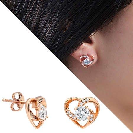 Zirkon Tektaşlı Kalp Tasarım Rose Renk 925 Ayar Gümüş 3'lü Takı Seti - Thumbnail