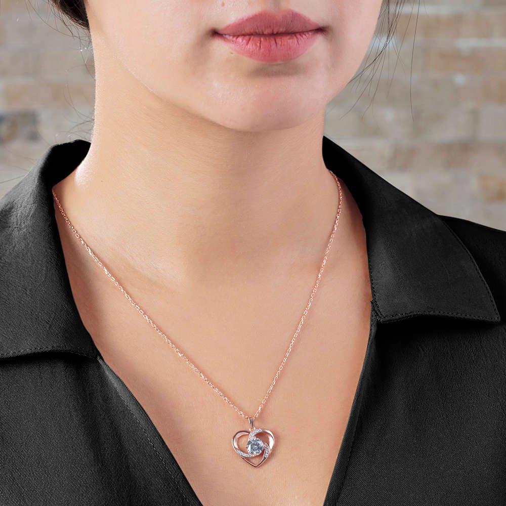 Zirkon Tektaşlı Kalp Tasarım Rose Renk 925 Ayar Gümüş 3'lü Takı Seti
