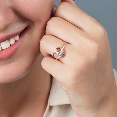 Zirkon Tektaşlı Kalp Tasarım Rose Renk 925 Ayar Gümüş Bayan Yüzük - Thumbnail
