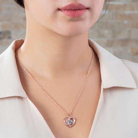 Zirkon Tektaşlı Kalp Tasarım Rose Renk 925 Ayar Gümüş Kolye - Thumbnail