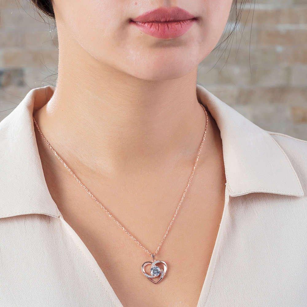 Zirkon Tektaşlı Kalp Tasarım Rose Renk 925 Ayar Gümüş Kolye