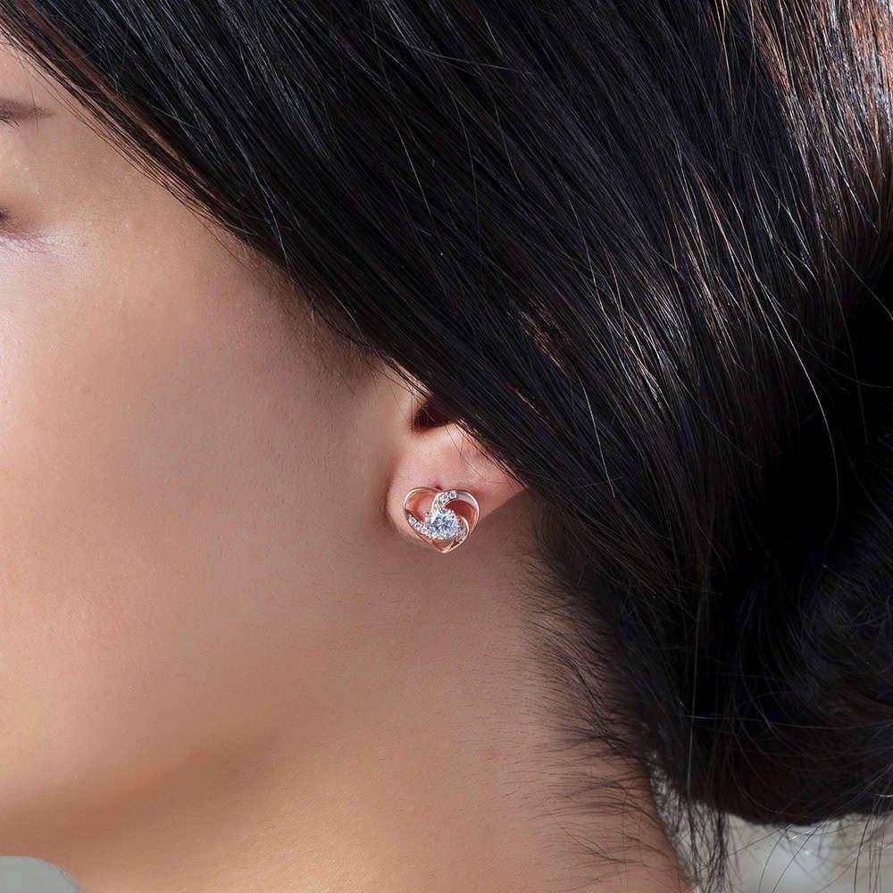 Zirkon Tektaşlı Kalp Tasarım Rose Renk 925 Ayar Gümüş Küpe