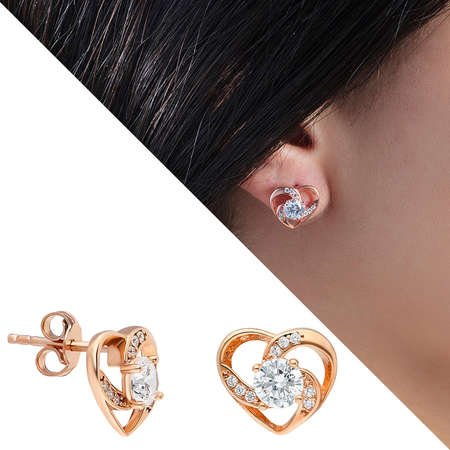 Zirkon Tektaşlı Kalp Tasarım Rose Renk 925 Ayar Gümüş Küpe - Thumbnail