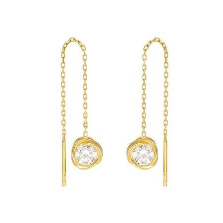 Zirkon Tektaşlı Özel Tasarım Gold Renk 925 Ayar Gümüş Sallantılı Küpe - Thumbnail