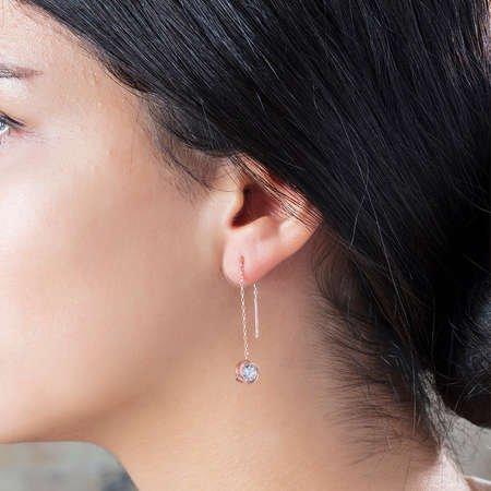 Zirkon Tektaşlı Özel Tasarım Rose Renk 925 Ayar Gümüş Sallantılı Küpe - Thumbnail