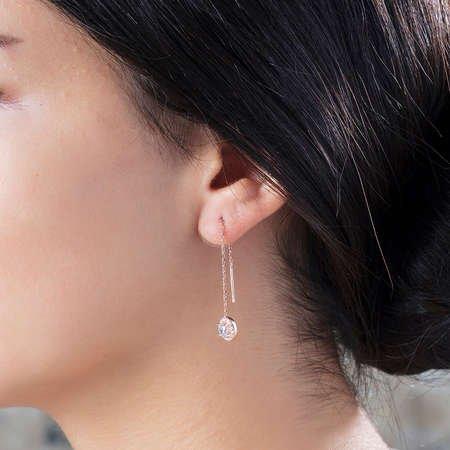 Zirkon Tektaşlı Rose Renk 925 Ayar Gümüş Sallantılı Küpe - Thumbnail