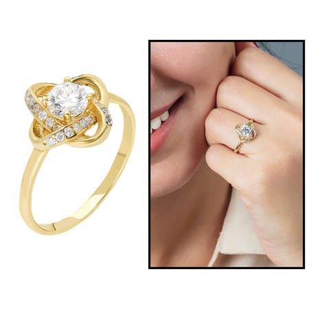 Zirkon Tektaşlı Samanyolu Tasarım Gold Renk 925 Ayar Gümüş Bayan Yüzük - Thumbnail