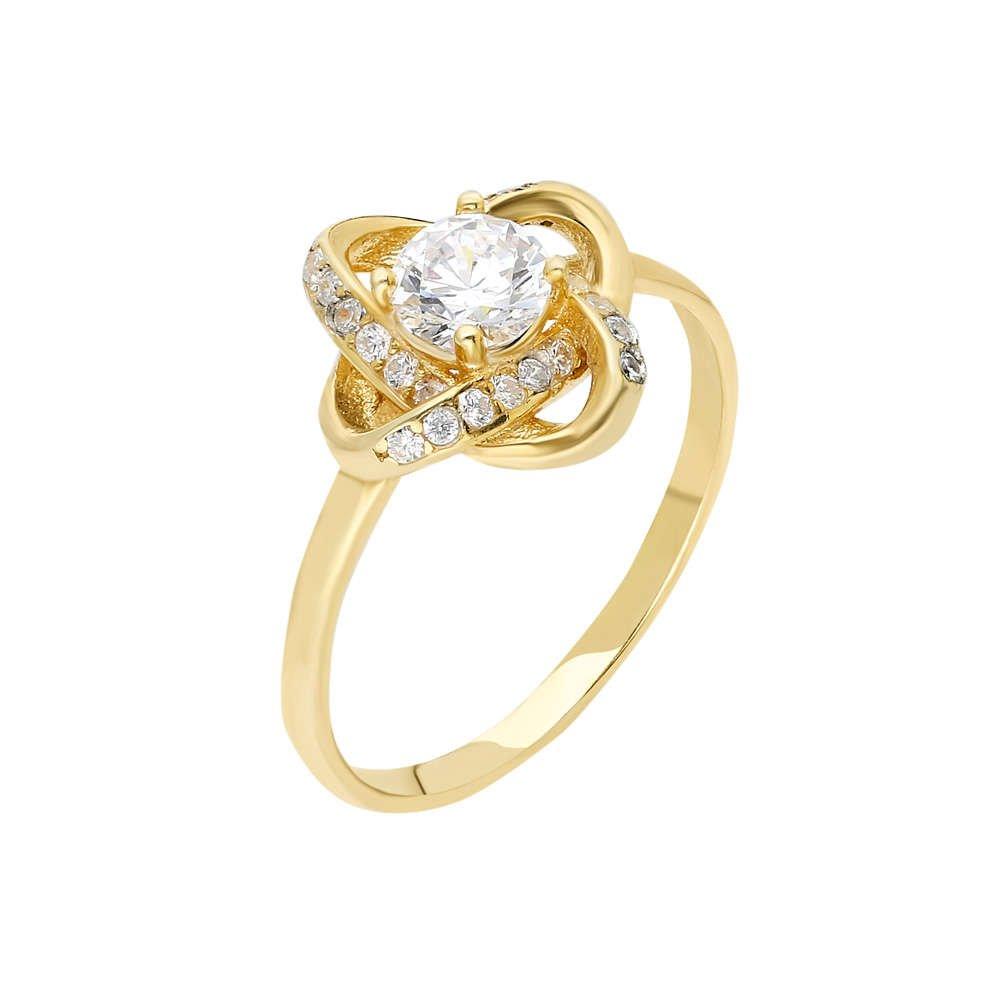 Zirkon Tektaşlı Samanyolu Tasarım Gold Renk 925 Ayar Gümüş Bayan Yüzük