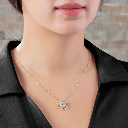Zirkon Tektaşlı Samanyolu Tasarım Gold Renk 925 Ayar Gümüş Kolye - Thumbnail