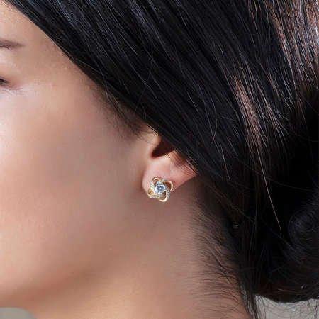 Zirkon Tektaşlı Samanyolu Tasarım Gold Renk 925 Ayar Gümüş Küpe - Thumbnail