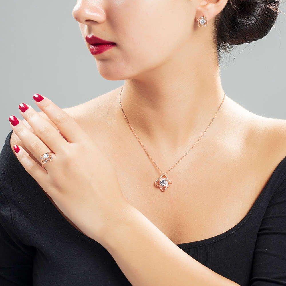 Zirkon Tektaşlı Samanyolu Tasarım Rose Renk 925 Ayar Gümüş 3'lü Takı Seti