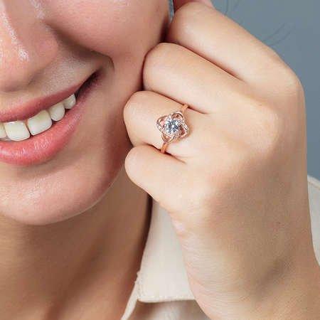 Zirkon Tektaşlı Samanyolu Tasarım Rose Renk 925 Ayar Gümüş Bayan Yüzük - Thumbnail